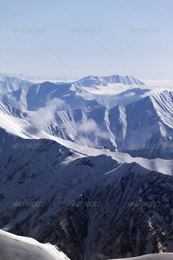 Winter mountains in haze - Stock Photo - Images