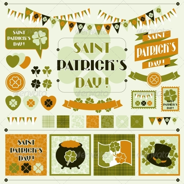 GraphicRiver Collection design elements of Saint Patrick s Day 3997950