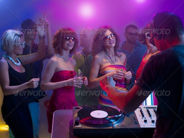 young caucasian people dancing at party - Stock Photo - Images
