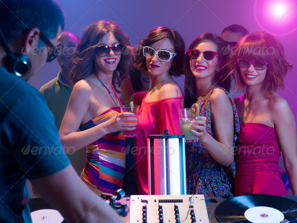 girls night out at a party - Stock Photo - Images