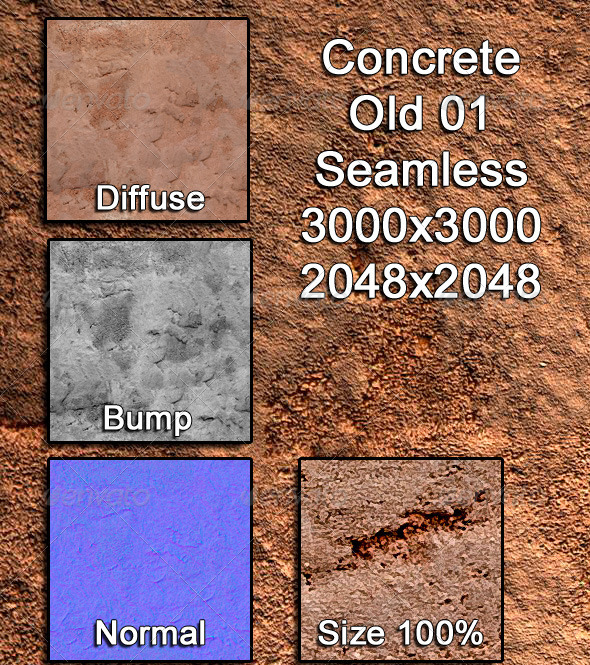3DOcean Concrete Old 01 Tileable 3974347