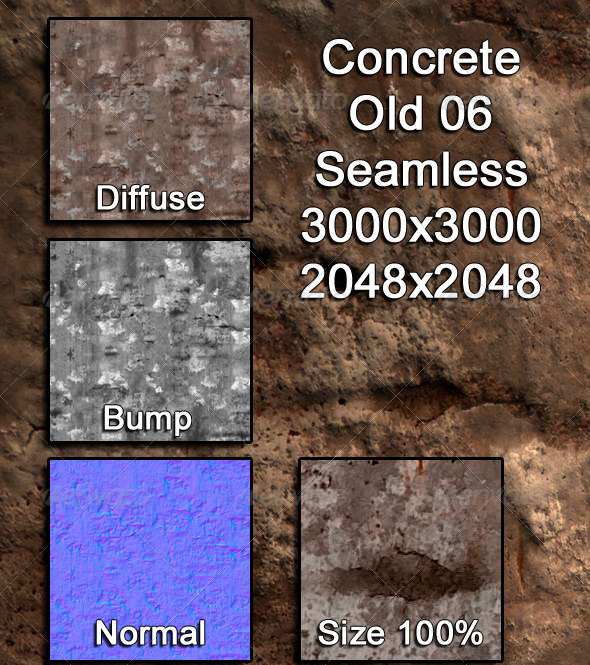 3DOcean Concrete Old 06 Tileable 3974484
