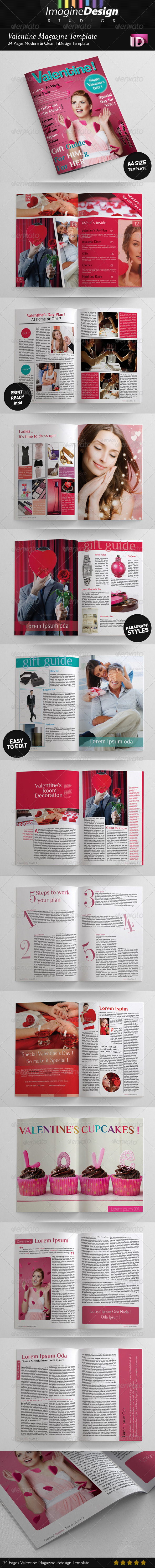 24 Pages Valentine Magazine Template - Magazines Print Templates