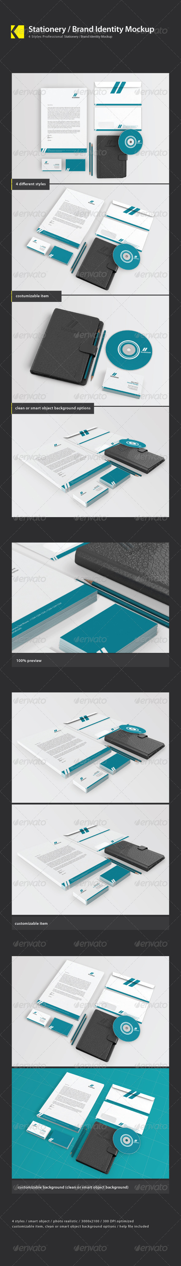 GraphicRiver Stationery Brand Identity Mockups 3998795
