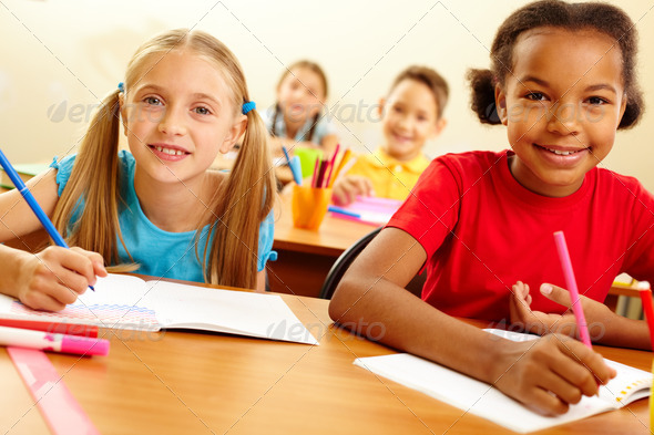 Classmates at lesson - Stock Photo - Images