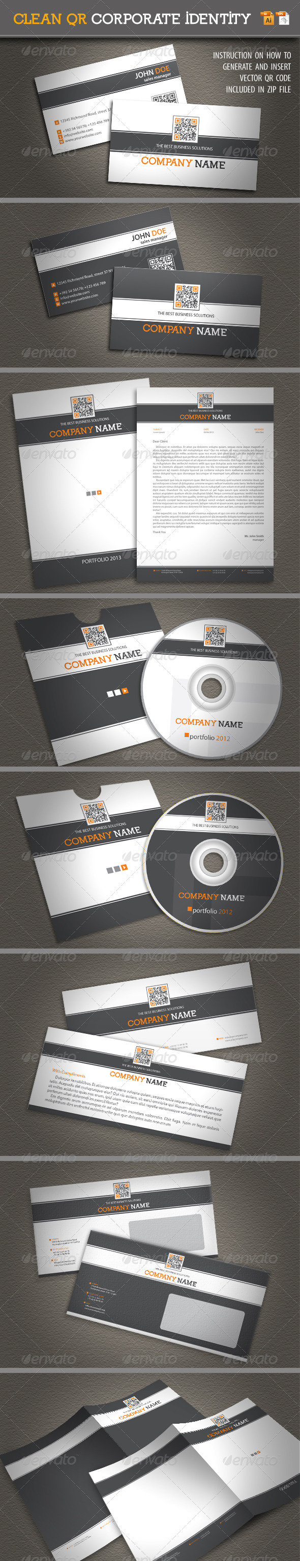 Clean QR Corporate Identity  - Stationery Print Templates