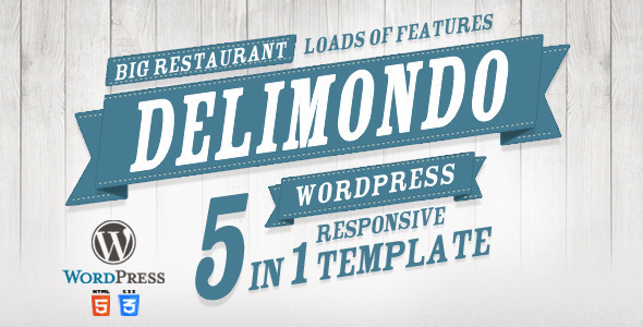 Delimondo Responsive Wordpress Theme | 5 Styles - Restaurants & Cafes Entertainment