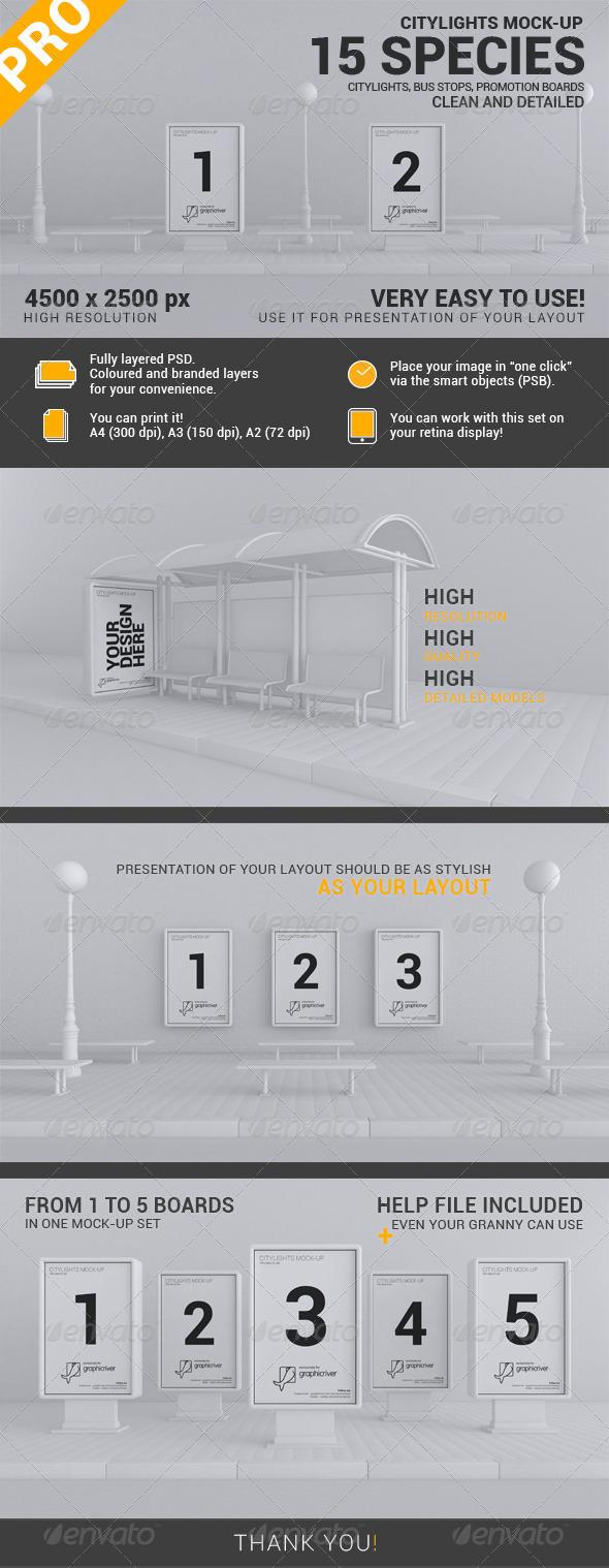 GraphicRiver Citylights Mock-up Set 15 Variations 4000176
