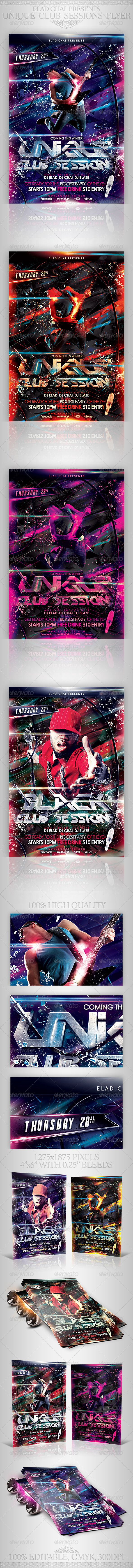 Unique Club Sessions Flyer Template - Clubs & Parties Events