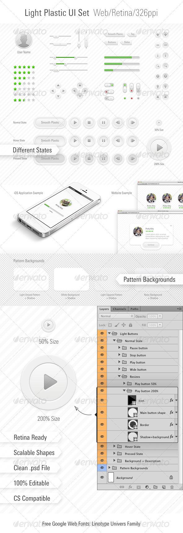 GraphicRiver Light Plastic UI Set Web App 3698077