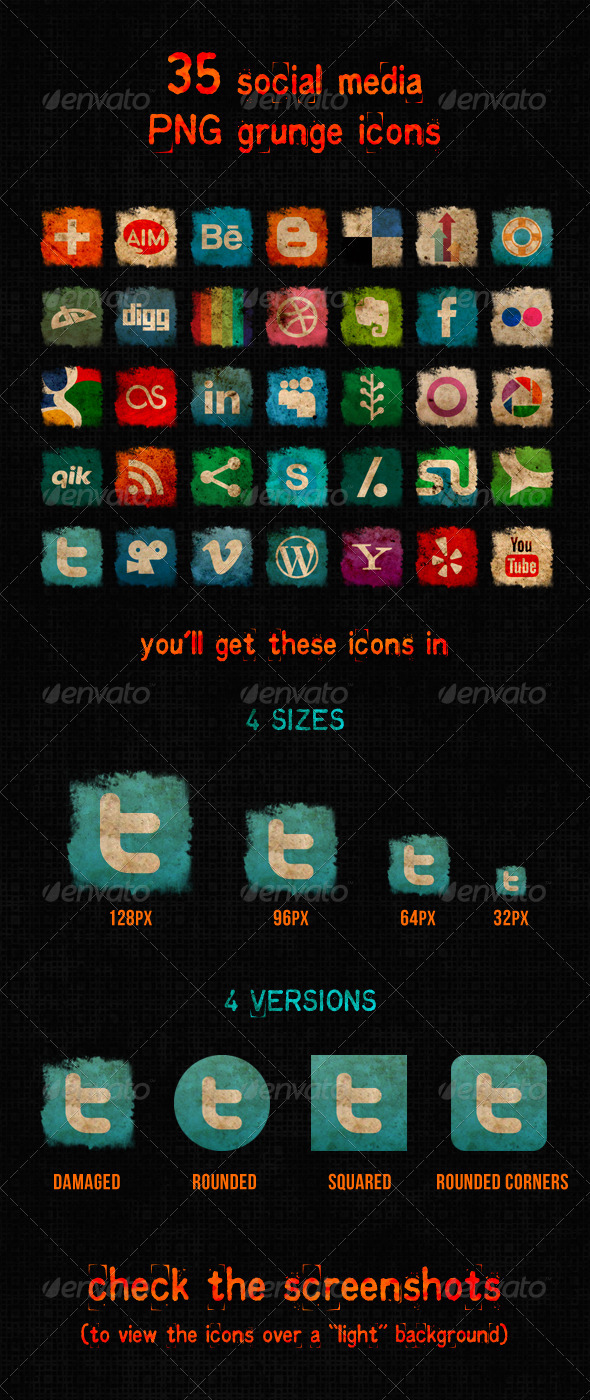 GraphicRiver Social Media Grunge Icons 3881662