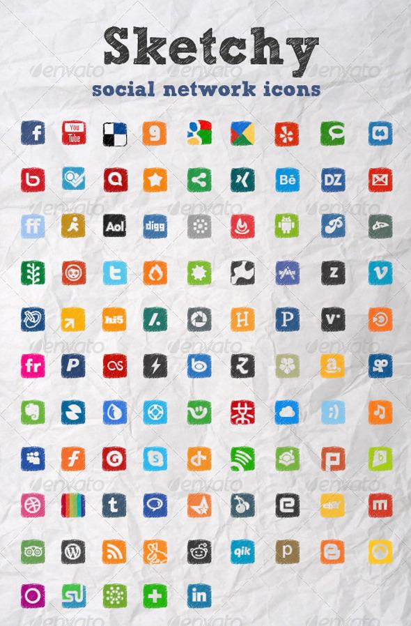 Sketchy Social Network Icons - Web Icons