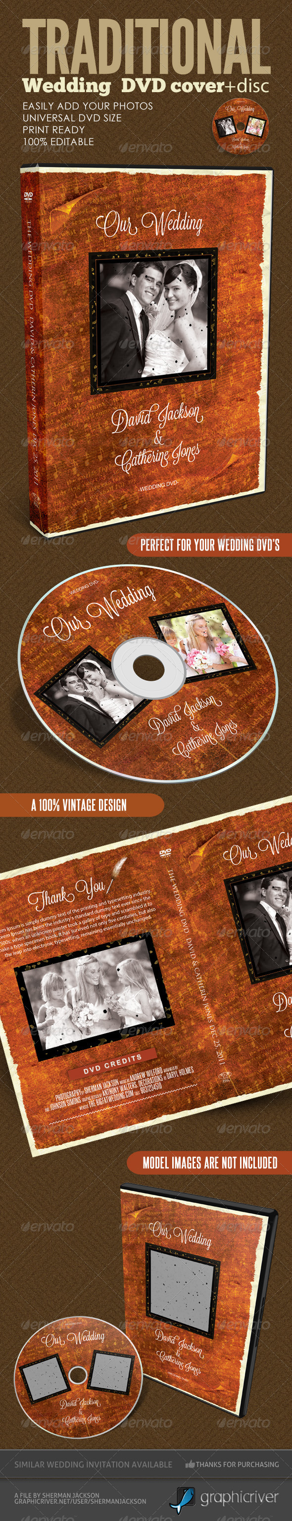 Vintage Wedding DVD Covers & Disc Label V.2  - CD & DVD artwork Print Templates