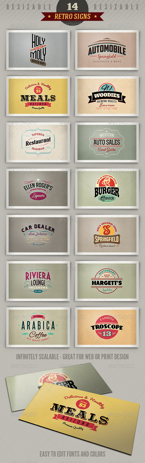 GraphicRiver 14 Retro Signs or Banners Vol.3 4000988