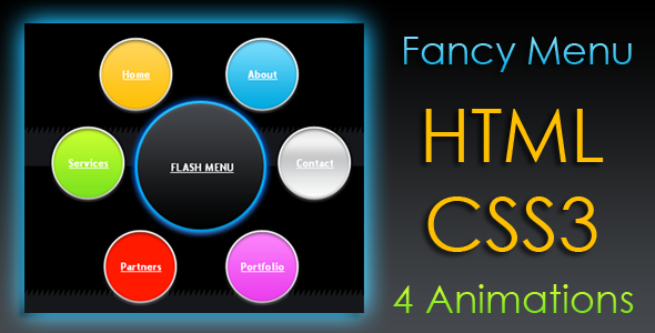 Download Animated Fancy Menu - HTML & CSS3 nulled download