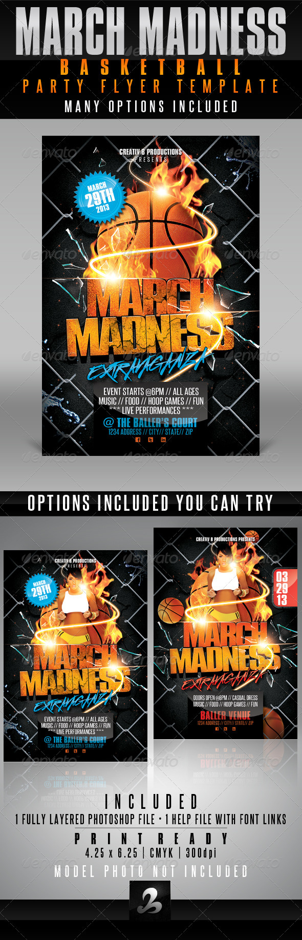 GraphicRiver March Madness Basketball Party Flyer Template 4001539