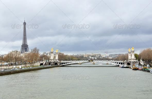 PhotoDune Eiffel tower and Alexander III bridge across Seine river 4001913