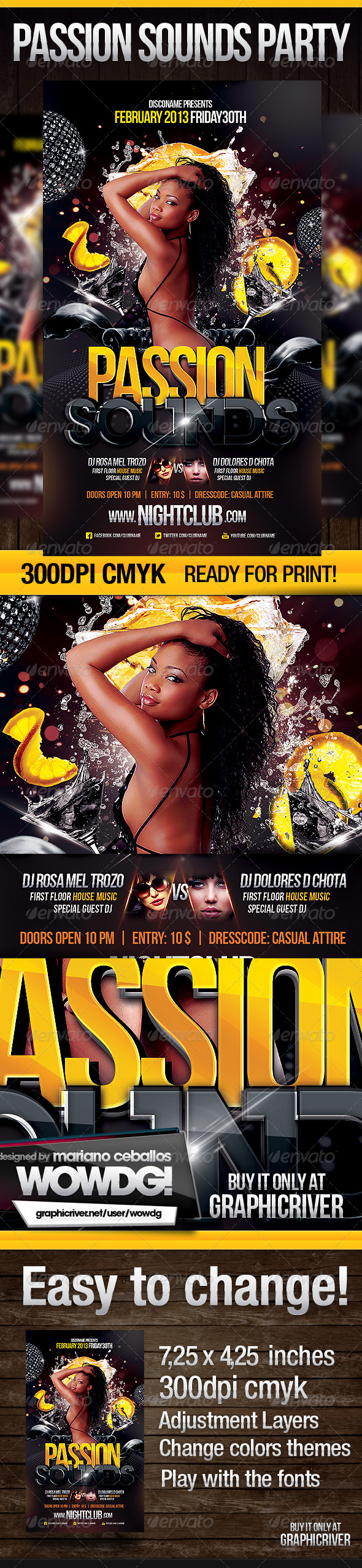 Passion Sounds Party Flyer - Clubs & Parties Events
