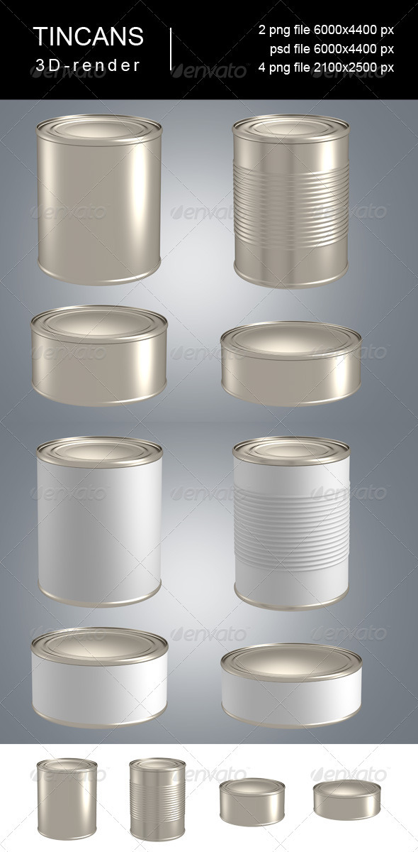 3D-Render of 5 Tincans - Objects 3D Renders