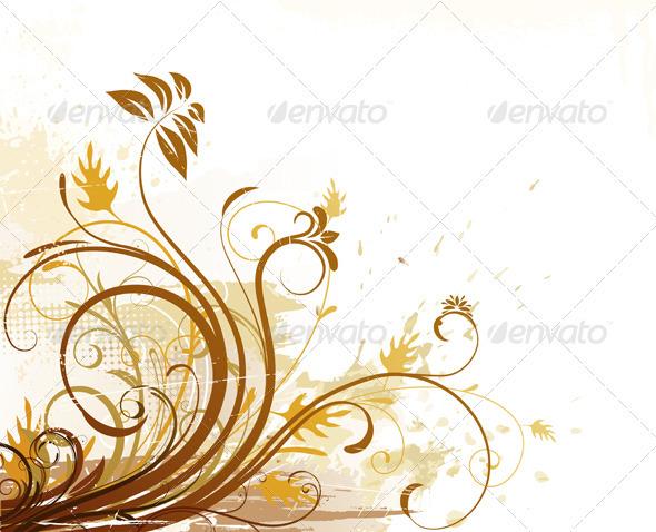 GraphicRiver Grunge Floral Background 4002667