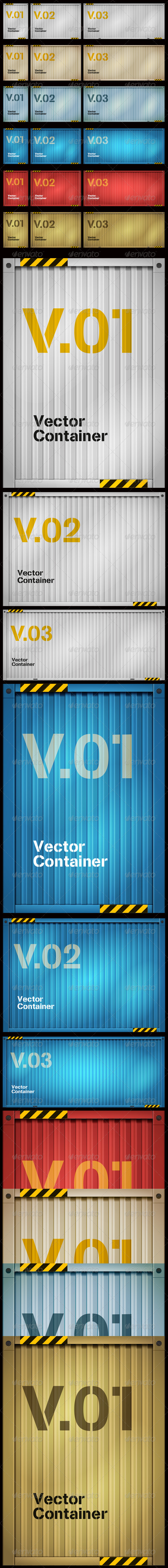 GraphicRiver Vector Cargo Container Set 3956021