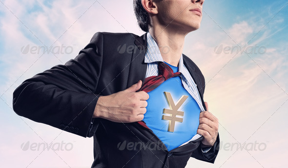 PhotoDune Businessman showing superman suit underneath shirt 4004870