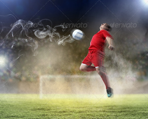 PhotoDune football player striking the ball 4004887