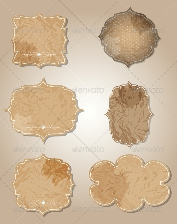 GraphicRiver Aged Paper Labels Vector Illustration 4004350