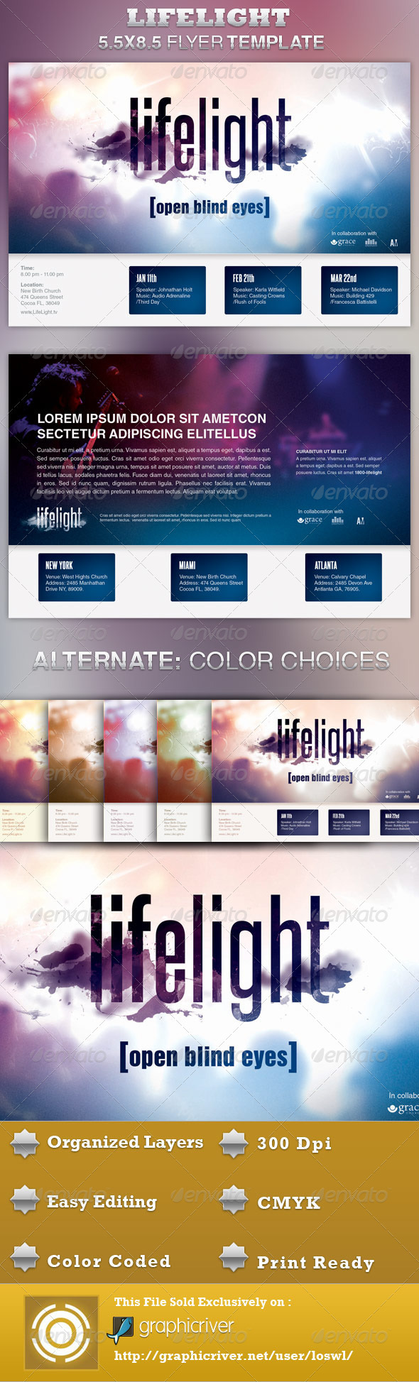 GraphicRiver LifeLight Church Concert Flyer Template 4005255