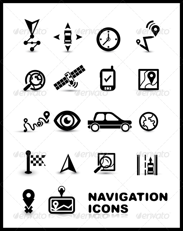 Black navigation icon set - Web Elements Vectors
