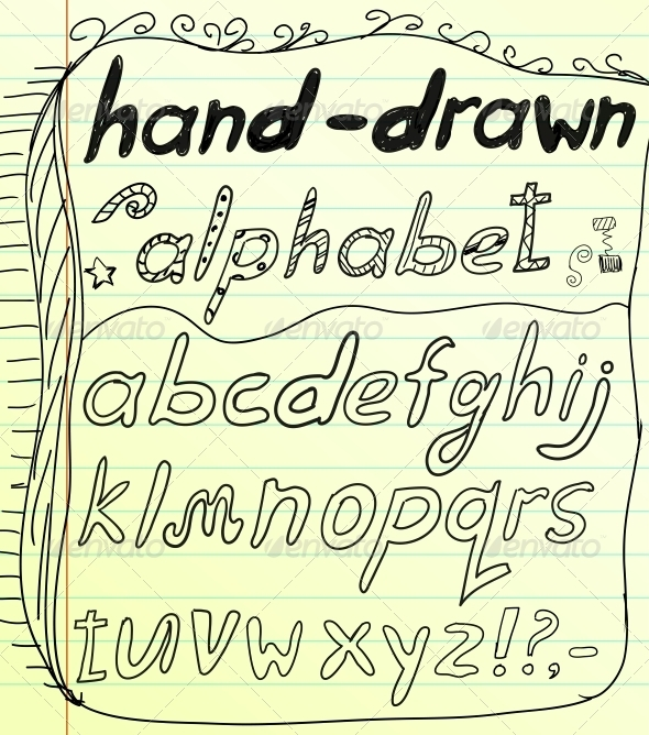 Black vector hand drawn alphabet doodles
