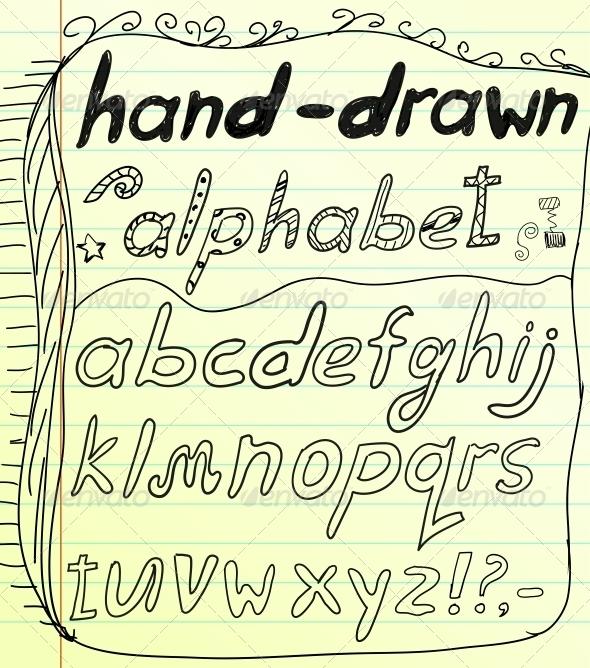 GraphicRiver Black vector hand drawn alphabet doodles 4006407
