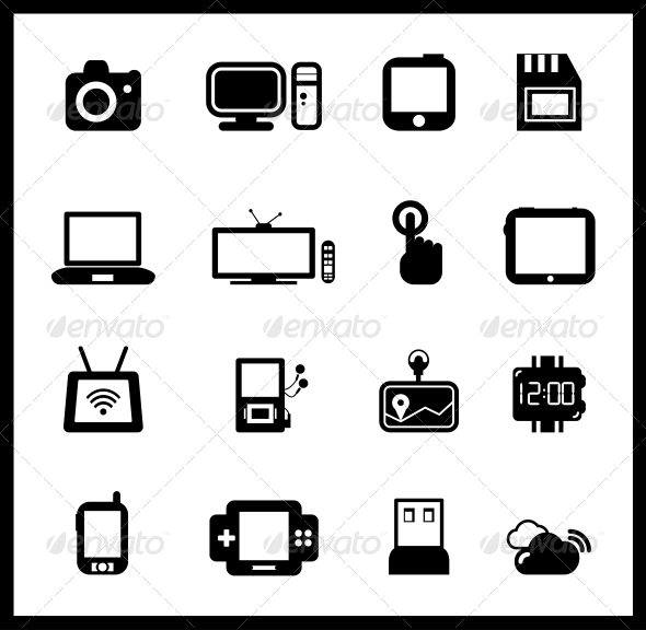 Vector Set of Electronic and Mobile Devices - Web Elements Vectors
