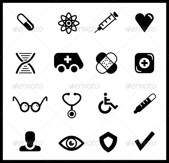 Black Medical Icon Set - Health/Medicine Conceptual