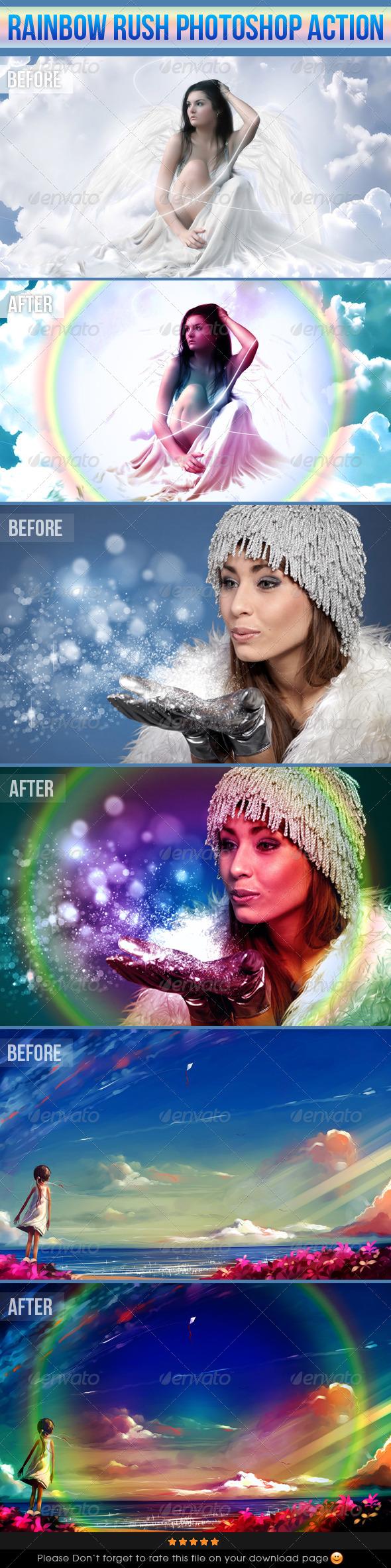 GraphicRiver Rainbow Rush Photoshop Action 4007514