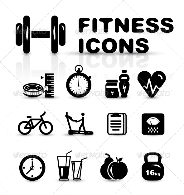Black Fitness Icon Set - Sports/Activity Conceptual