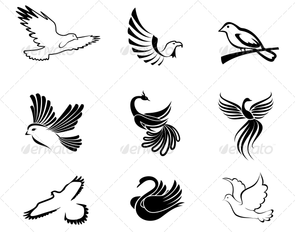GraphicRiver Bird Symbols 4007958