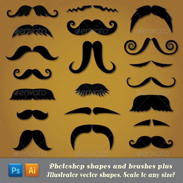 GraphicRiver Moustache Custom Shapes 4008028