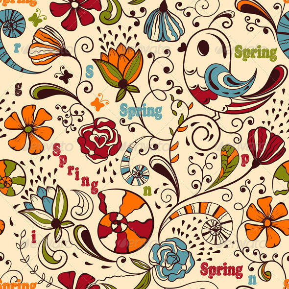 GraphicRiver Vector Seamless Spring Pattern 4008074