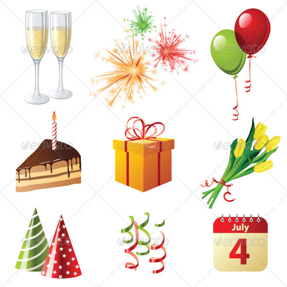 GraphicRiver Celebration Icons 4008972