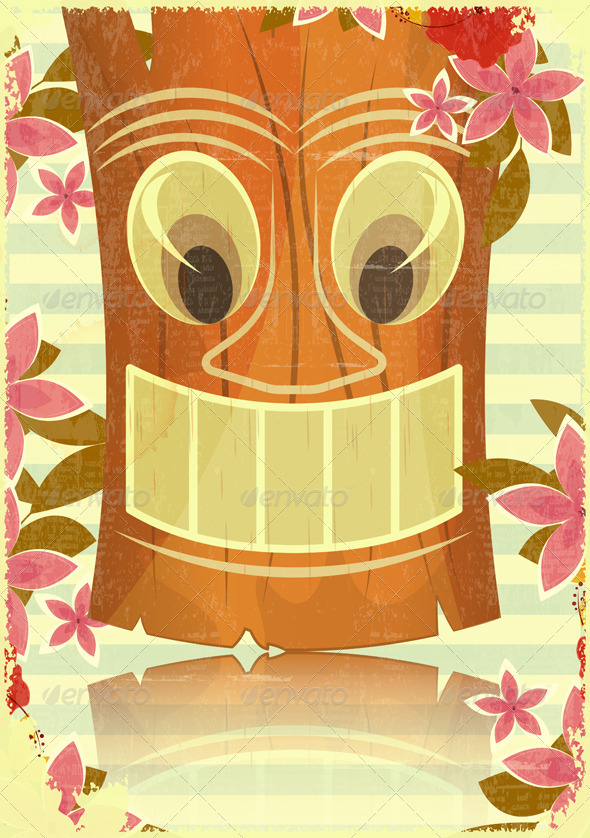 GraphicRiver Vintage Hawaiian Tiki Postcard 4009260