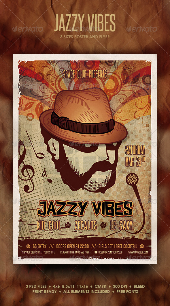 GraphicRiver Jazzy Vibes Poster and Flyer 4009293