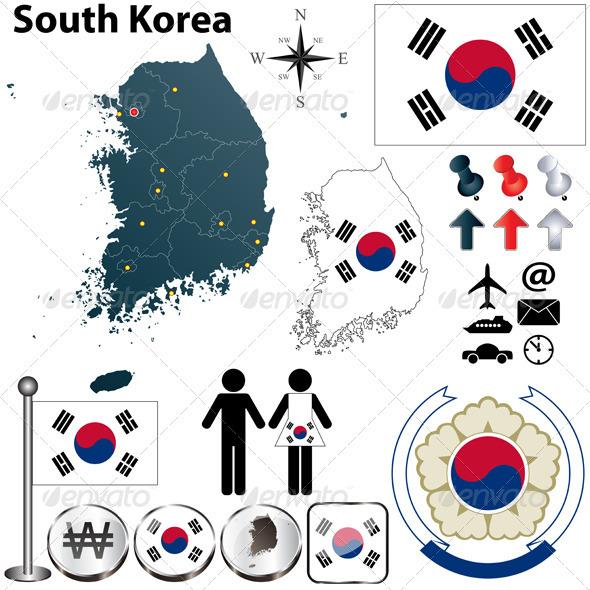 GraphicRiver South Korea Map 4009385