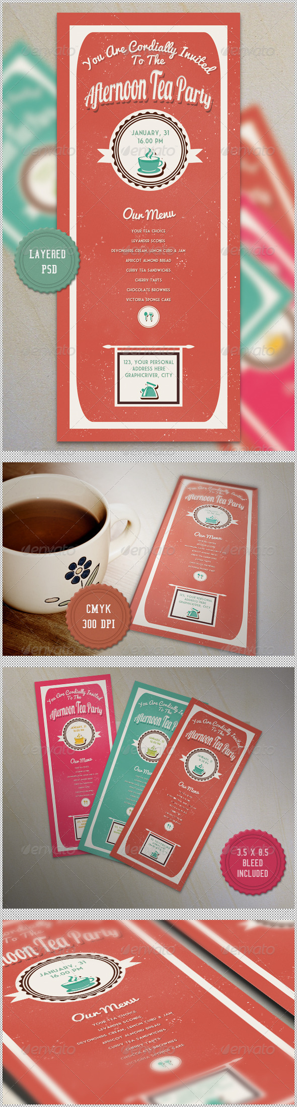 GraphicRiver Retro Tea Party Flyer Invitation 4009525