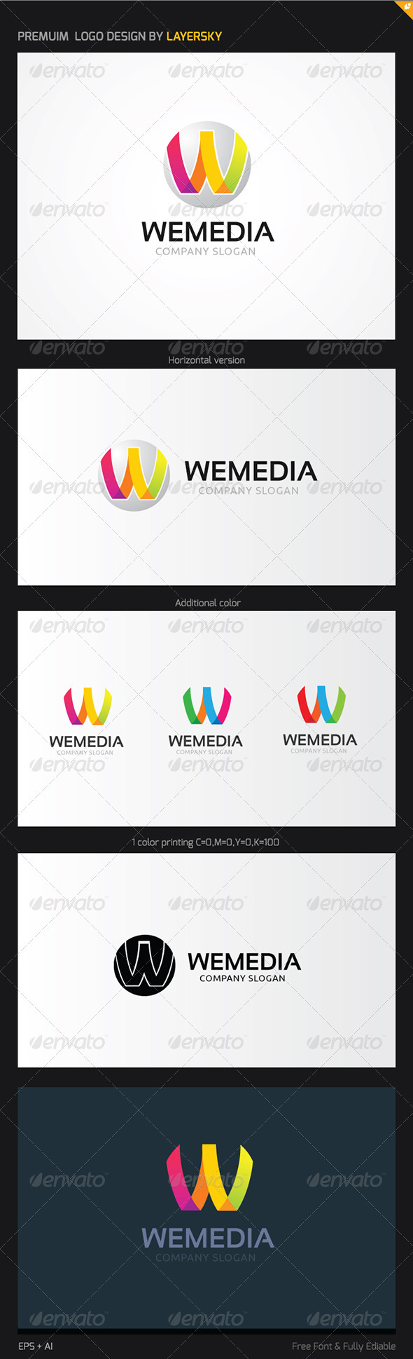 We Play Media Logo - Letters Logo Templates