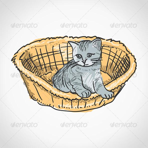 GraphicRiver Kitten in Basket 4011158