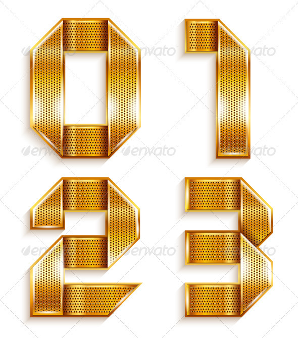 GraphicRiver Numerals folded from a metallic golden ribbon 4011577