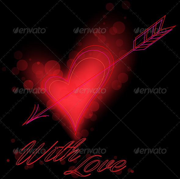 GraphicRiver Red Heart on Black Background 4011701