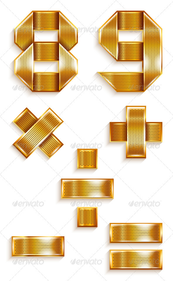 GraphicRiver Numerals folded from a metallic golden ribbon 4011703