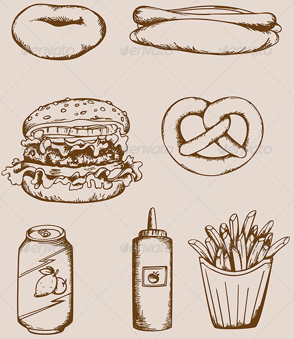 GraphicRiver Fast Food Vintage Icons 4011746